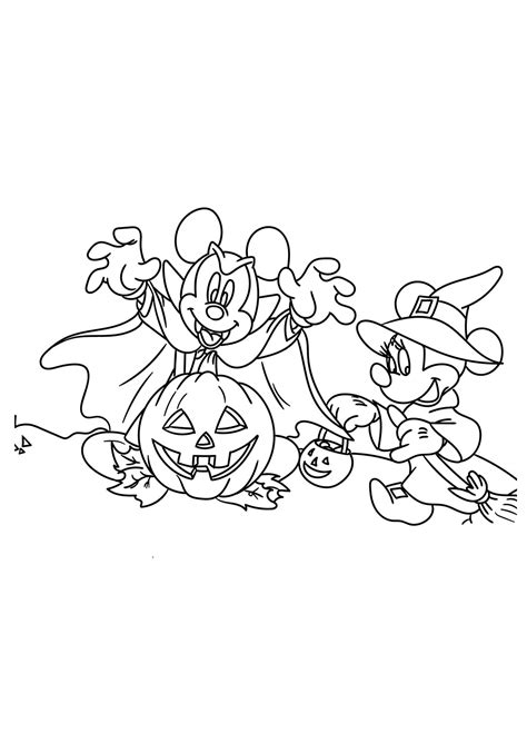 mickey  minnie mouse  halloween coloring page