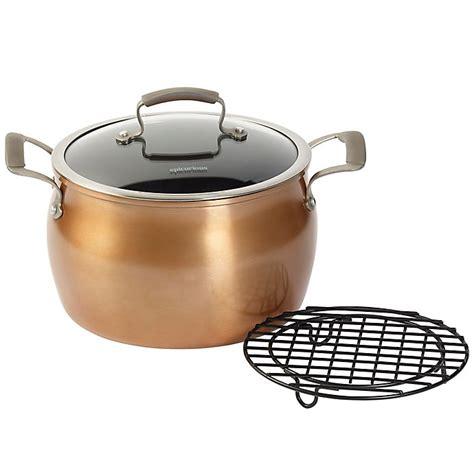 epicurious aluminum nonstick  qt covered stock pot  meat rack  copper bed bath
