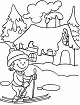 Coloring Winter Pages Season Seasons Ski Drawing Colouring Nature Ride Drawings Printable Fun Greetings Four Landscape Doo Kindergarten Take Bestcoloringpages sketch template