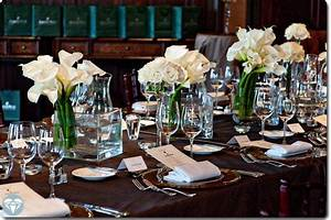 chocolate brown tablecloth white florals perfectly With elegant table settings for dinner parties
