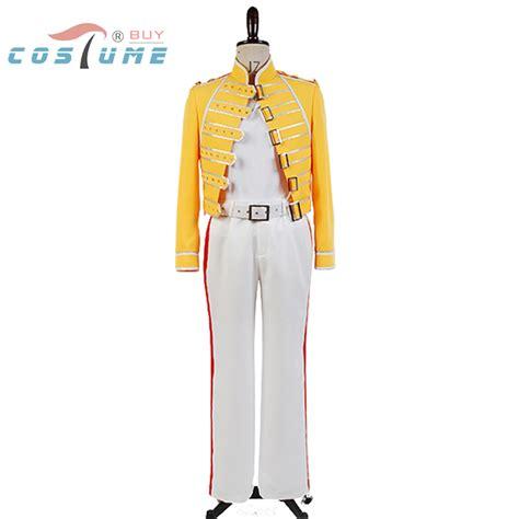 Queen Lead Vocals Freddie Mercury Men Yellow Jacket Coat White Pant Costume Cosplay-in Movie ...