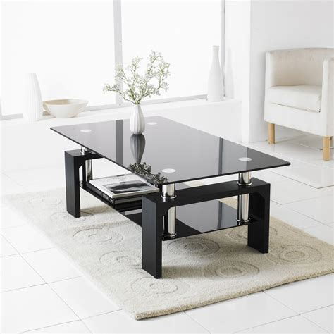 Black Modern Rectangle Glass & Chrome Living Room Coffee