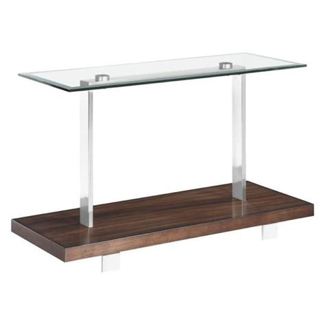 brushed nickel desk l magnussen modern loft console table in brushed nickel