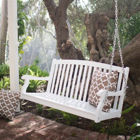 coral coast pleasant bay white curved  porch swing  optional cushion porch swings