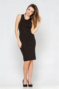 robe mi longue noir col rond sans manches fendu moulante With robe mi longue pas cher