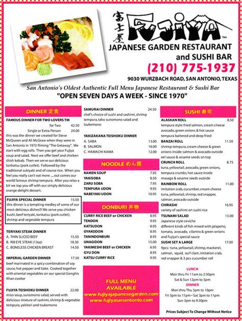 fujiya japanese garden restaurant sushi bar san antonio