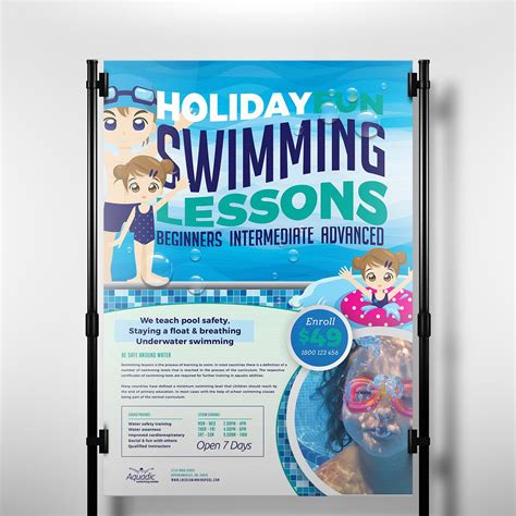 swimming pool poster template flyer templates