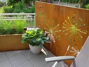 Terrassengestaltung Mit Sichtschutz : metall im garten sichtschutz und pflanztr ge aus corten ~ Michelbontemps.com Haus und Dekorationen
