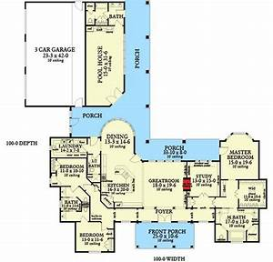 Plan, 62134v, Ranch, Home, Plan, With, Poolhouse
