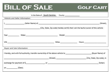 south carolina golf cart bill  sale template