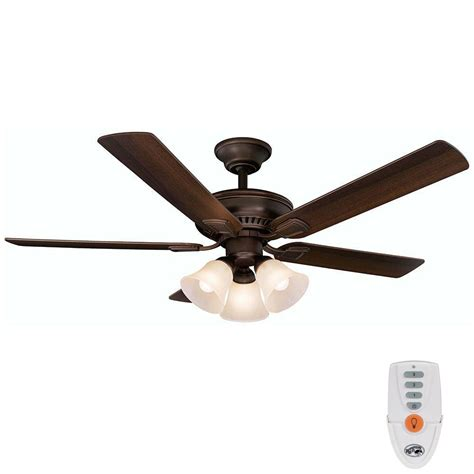 bronze ceiling fan with light and remote hton bay cbell 52 in indoor mediterranean bronze