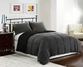 black grey king size 3pc reversible down alternative comforter set cozybeddings home