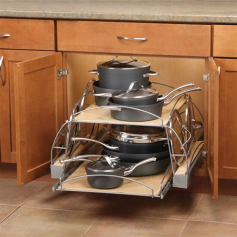 pot and pan cabinet organizer slide out pot and pan caddy for kitchen base cabinetr by