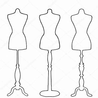 Mannequin Drawing Outline Mannequins Template Drawn Dresses