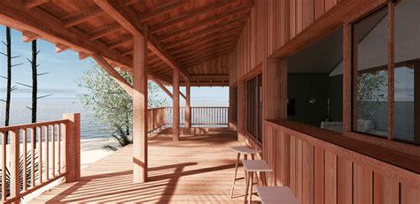 salon cuisine ouverte construction d 39 une cabane bois sur pilotis a sanguinet 40