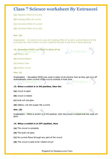 class  science worksheet  detail solutions