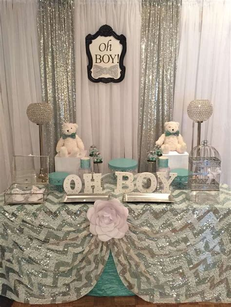 boys shower mint and silver baby shower ideas bow ties cloths