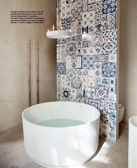 modern tub  antique tiles interiors  color