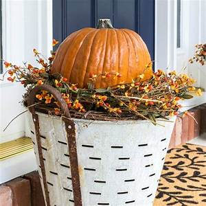 DIY Fall Olive Bucket Pumpkin Planters On Sutton Place