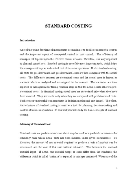 Standard Costing | Cost Accounting | Labour Economics