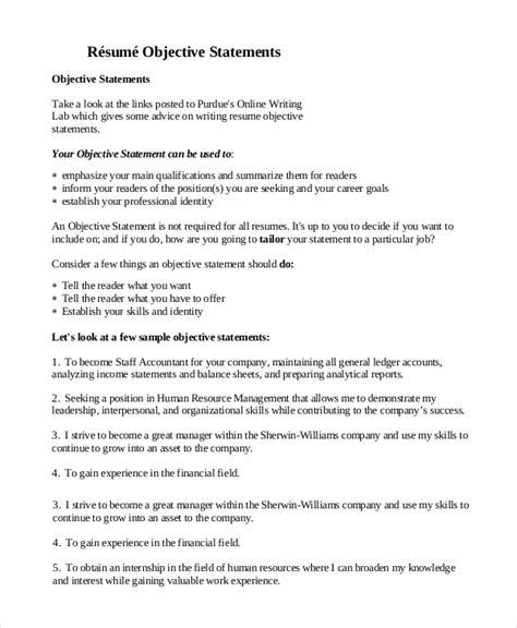 Career Objective Statements Exles by Sle Objective Statement For Resume 9 Exles In Pdf