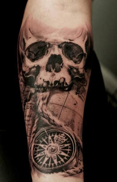 Arm Skull Compass Tattoo by Tattoo Studio 73