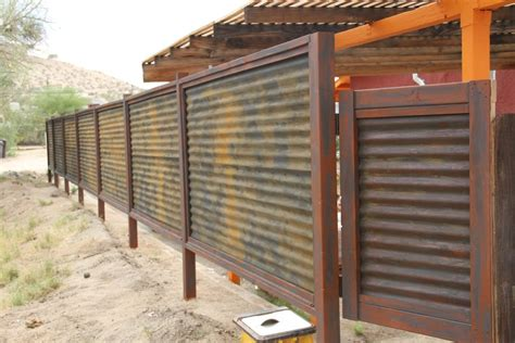 lasting corrugated metal privacy fence fence ideas