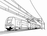Train Coloring Pages Drawing Electric Railroad Cable Freight Crossing Bullet Passenger Caboose Trains Printable Metro Drawings Speed Engine Getdrawings Thomas sketch template
