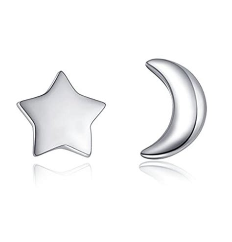 nuwastone moon and 925 sterling silver stud earring
