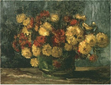 bowl  chrysanthemums  vincent van gogh  painting