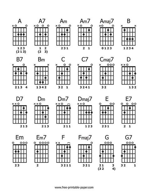guitar chord sheet  printable paper