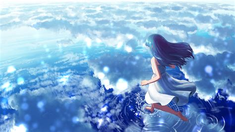 Anime Water Wallpaper - wallpaper anime clouds water walking on water