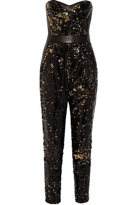 sequins jumpsuit milly leather trimmed sequined tulle jumpsuit in black lyst
