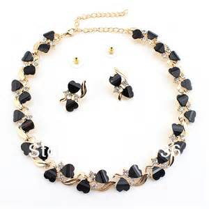 black wedding rings mens gold necklace and earrings set with blue shape handmade