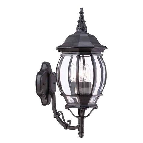 hton bay wall light with 1 rustic iron outdoor mount