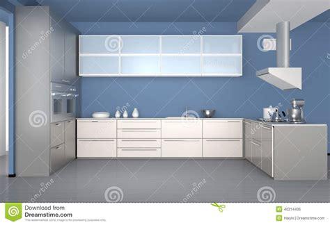 papier peint de cuisine intérieur moderne de cuisine avec le papier peint bleu