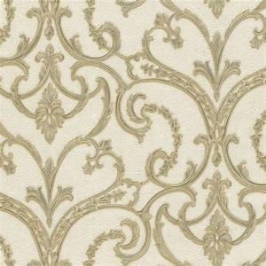 Emiliana Lusso Principessa Damask Wallpaper Cream, Gold ...