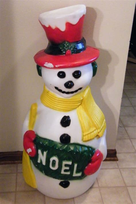 vintage   christmas noel snowman lighted blow mold
