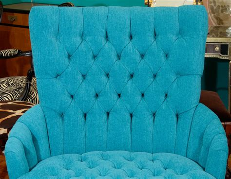 tufted leather chair turquoise vintage turquoise blue tufted quot chair and a half quot image 4