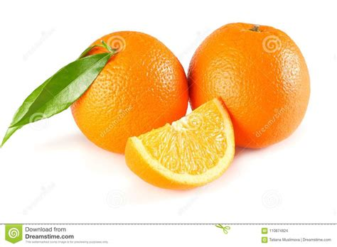 Healthy Food Orange With Green Leaf Isolated White