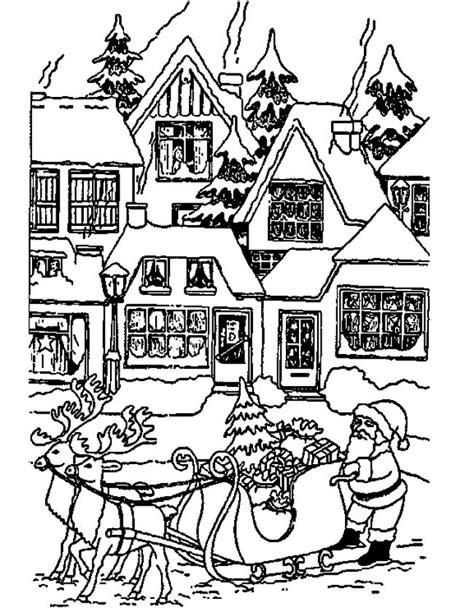 Huizen Kleurplaat by Kleuren Nu Kerstman Bij Huizen Kleurplaten