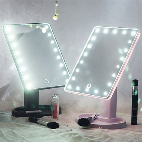 makeup desk with lighted mirror 22 led touch screen makeup mirror tabletop cosmetic vanity