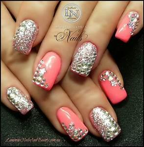 Pink with diamonds & glitter   Nail art   Pinterest