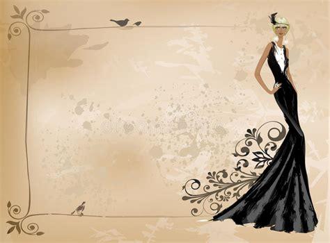 fashion vintage girl  black dress stock vector