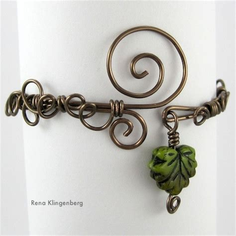 leaf vine filigree wire bracelet tutorial jewelry journal
