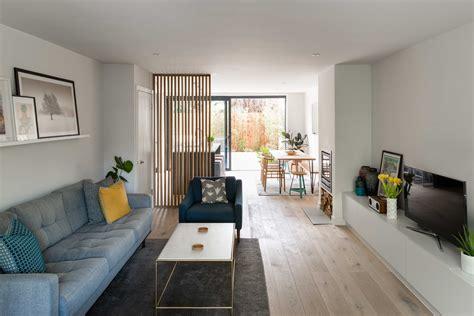 open plan lounge kitchen wood floor garden views london living room home modern house