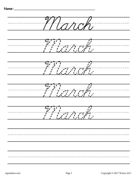 12 free cursive handwriting worksheets months of the