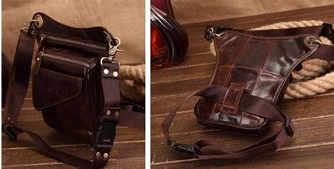 New Leather Drop Leg Bag Motorcycle Dirt Bike Cycling