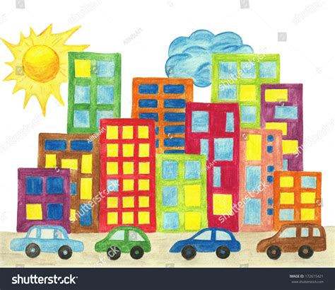 city town cityscape colorful cartoon city stock