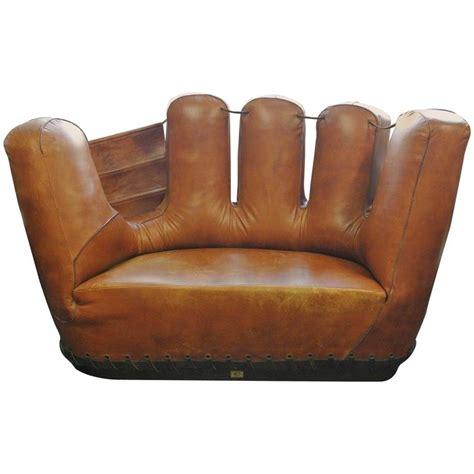 stiles brothers leather baseball glove sofa at 1stdibs